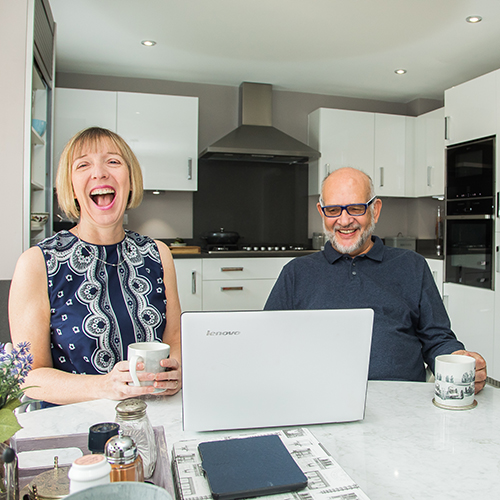 Personal Assistant Pam Allen and a client at their home office in Crewe, Cheshire